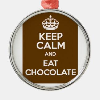Behalten Sie ruhig und essen Sie Schokolade Silbernes Ornament