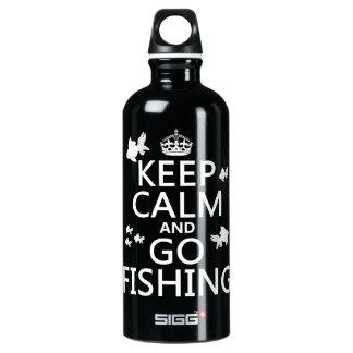 Behalten Sie ruhig und gehen Sie zu fischen Wasserflasche