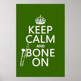 Behalten Sie ruhig und 'Knochen auf (Trombone - Poster