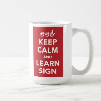 Behalten Sie ruhig und lernen Sie Zeichenbecher Kaffeetasse