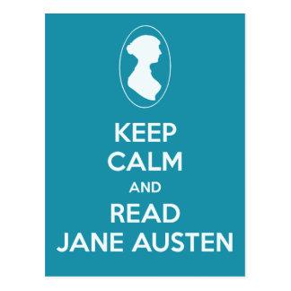 Behalten Sie ruhig und lesen Sie aquamarine Postkarte