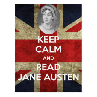 Behalten Sie ruhig und lesen Sie Jane Austen Postkarte