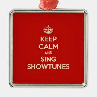 Behalten Sie ruhig und singen Sie Showtunes Silbernes Ornament