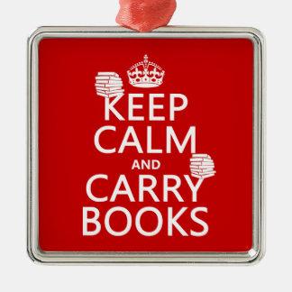 Behalten Sie ruhig und tragen Sie Bücher (in Quadratisches Silberfarbenes Ornament