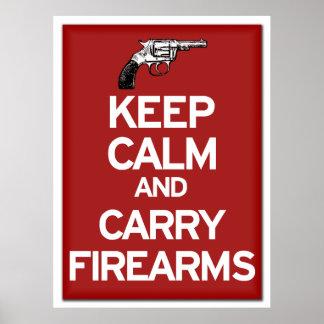 Behalten Sie ruhig und tragen Sie Feuerwaffenplaka