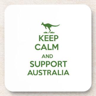 Behalten Sie ruhig und Unterstützung Australien Getränkeuntersetzer