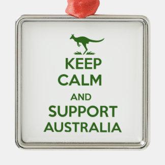 Behalten Sie ruhig und Unterstützung Australien Quadratisches Silberfarbenes Ornament