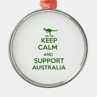 Behalten Sie ruhig und Unterstützung Australien Rundes Silberfarbenes Ornament