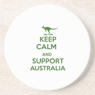 Behalten Sie ruhig und Unterstützung Australien Sandstein Untersetzer