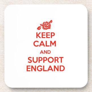 Behalten Sie ruhig und Unterstützung England Getränkeuntersetzer