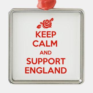 Behalten Sie ruhig und Unterstützung England Quadratisches Silberfarbenes Ornament