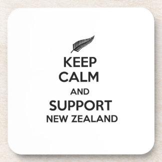 Behalten Sie ruhig und Unterstützung Neuseeland Getränkeuntersetzer