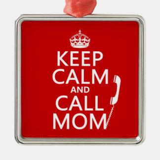 Behalten Sie ruhige und Anruf-Mamma - alle Farben Silbernes Ornament