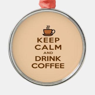 Behalten Sie ruhiger und Getränk-Kaffee Rundes Silberfarbenes Ornament