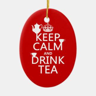 Behalten Sie ruhiger und Getränk-Tee - alle Farben Keramik Ornament
