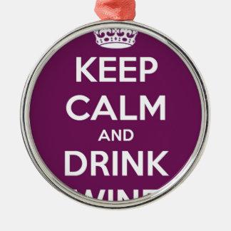 Behalten Sie ruhiger und Getränk-Wein Rundes Silberfarbenes Ornament