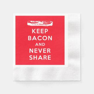 Behalten Sie Speck und teilen Sie nie Papierservietten