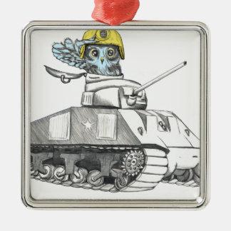 Behälter-Kampf-Eule Quadratisches Silberfarbenes Ornament