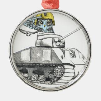 Behälter-Kampf-Eule Rundes Silberfarbenes Ornament