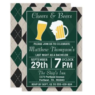 Beifall u. Bier-Trendy grünes Junggeselle-Party 12,7 X 17,8 Cm Einladungskarte