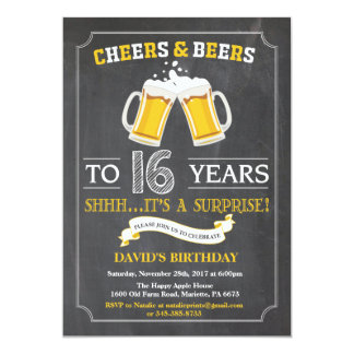 Beifall-und Bier-16. Geburtstags-Einladungs-Karte 12,7 X 17,8 Cm Einladungskarte