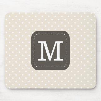 Beig Polka-Punkt-Muster mit personalisiertem Mousepad