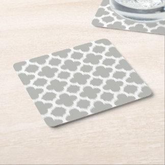 Beige graues Weiß Retro Ikat Quatrefoil Muster Rechteckiger Pappuntersetzer
