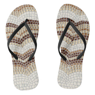 Beige Mosaik-erwachsene dünne Bügel drehen Badesandalen