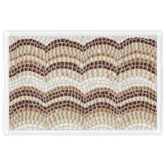 Beige Mosaik-Extra-Großes Rechteck-Serviertablett Acryl Tablett