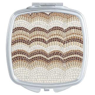 Beige Mosaik-Quadrat-Vertrags-Spiegel Taschenspiegel