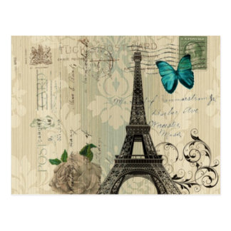 beige Turm Damastschmetterlings-Rose Paris Eiffel Postkarte