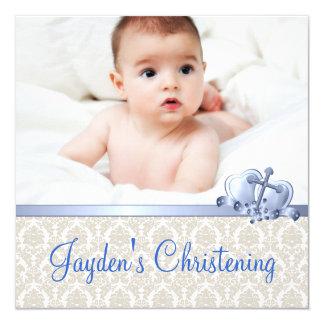 Beige und blaue Damast-Jungen-Foto-Taufe Quadratische 13,3 Cm Einladungskarte