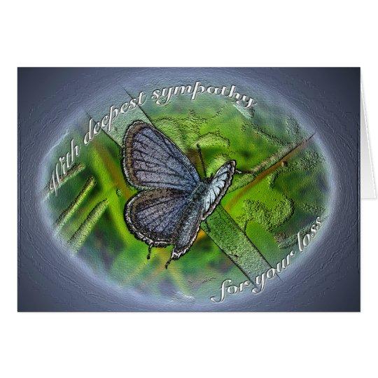 Beileids-Blau-Schmetterling Grußkarte