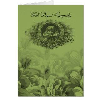Beileids-Karte mit gemischten Blumen und Kind Grußkarte