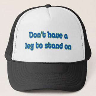Bein, zum an zu stehen truckerkappe