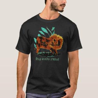Belaubte Illustration des Löwe-wilden Tieres T-Shirt