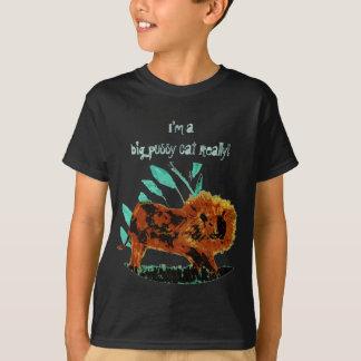Belaubte Löwe-wildes Tier-Grafik T-Shirt