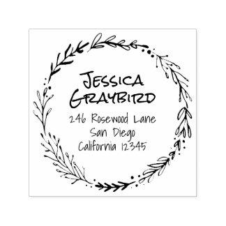 Belaubter Wreath-Selbst, der Adressen-Briefmarke Permastempel