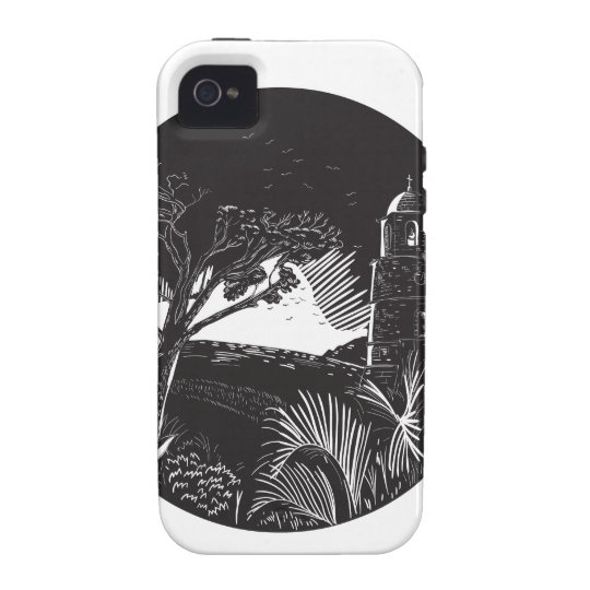 Belfry-Turm auf Hügel-Baum-Kreis-Holzschnitt Vibe iPhone 4 Case
