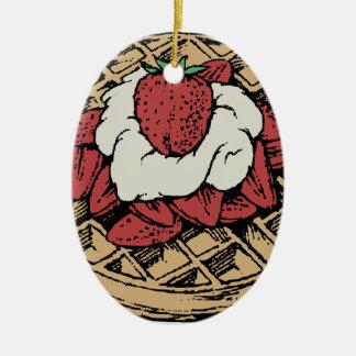 Belgische Waffeln mit Erdbeeren Keramik Ornament