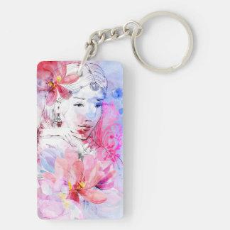 Belle fille avec un bouquet des fleurs porte-clé rectangulaire en acrylique double face