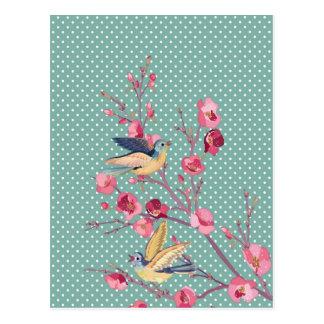 Belle fleur vintage chic girly d'arbre de ressort carte postale
