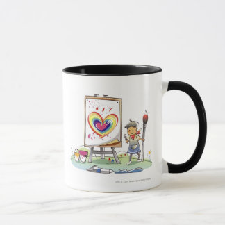 Bemannen Sie das Halten eines Malerpinsels und das Tasse