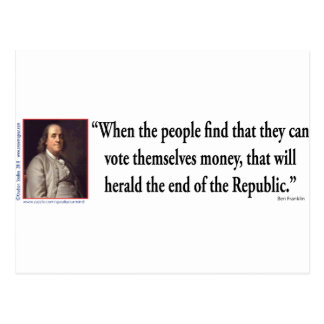 Ben Franklin auf Demokratie Postkarte