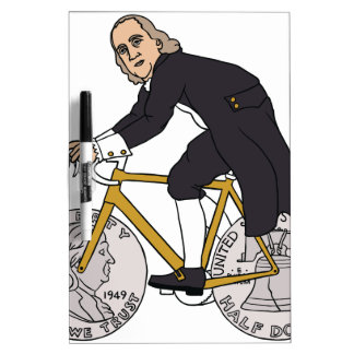 Ben Franklin auf einem Fahrrad mit Dollar-Rädern Trockenlöschtafel