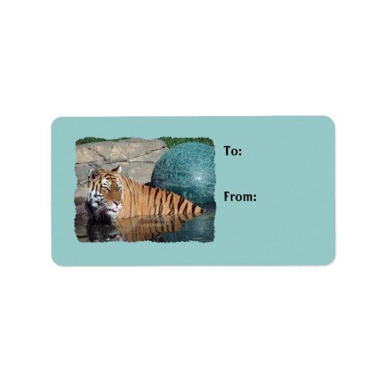 Bengalisches Tiger-Foto-hellblaue Adress Aufkleber