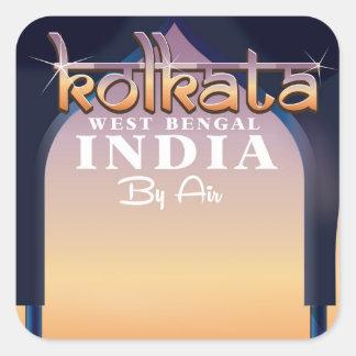 Bengaluru, Indien-Reiseplakat Quadratischer Aufkleber
