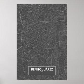 Benito Juárez, Mexiko (weiß auf Schwarzem) Poster
