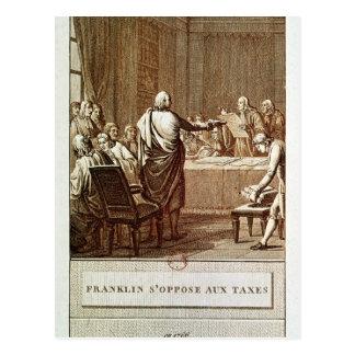 Benjamin Franklin, der seine Opposition darstellt Postkarte