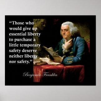 Benjamin Franklin-Freiheits-Freiheits-Zitat-Druck Poster